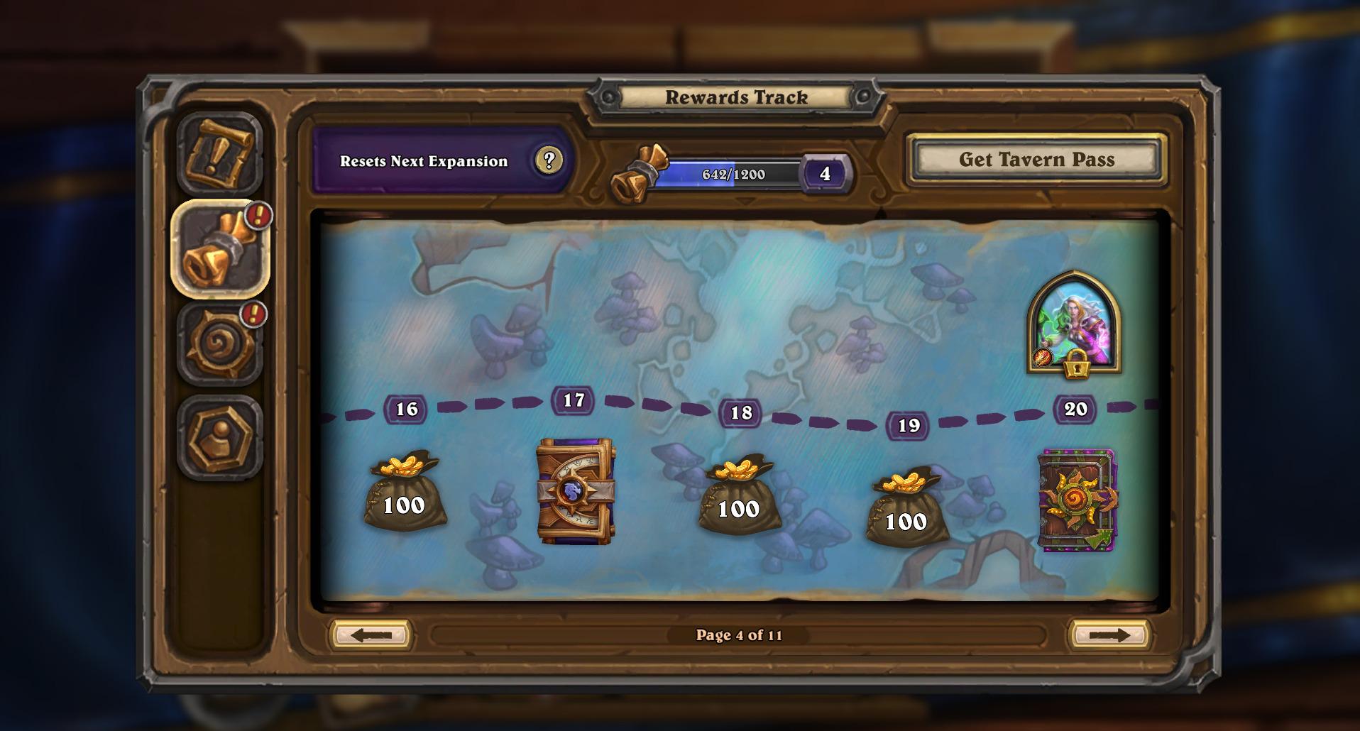 Pantalla del mapa de recompensas en Hearthstone