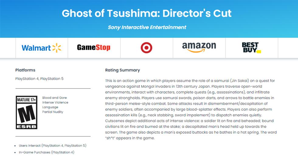 Ghost of Tsushima ESRB